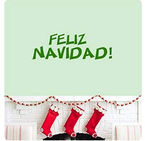 Dalxsh Song Christmas Spanish We Wish You A Merry Christmas Wall Decal Sticker Art Mural Quote Happy Holidays Home Decor 58X18Cm