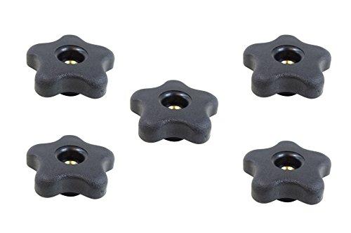 POWERTEC 71071 5-Star Thru Knob 5/16-Inch-18, 5-Pack (Thru Knob)