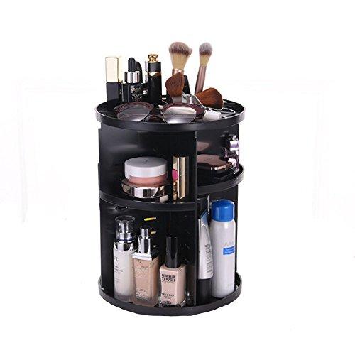 Evoio 360 Degree Rotation Makeup Organizer, Multi-Function Cosmetic Case Skincare Storage Rack, Rotary Cosmetics Storage Box Large Capacity Creams, Makeup Brushes,Lipsticks (Black)