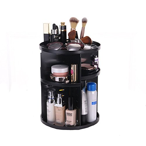 Evoio 360 Degree Rotation Makeup Organizer Adjustable Multi-Function Cosmetic Storage Box, Large Capacity, 7 Layers, Fits Toner, Creams, Makeup Brushes, Lipsticks, Essential Oils Flat Top, Black