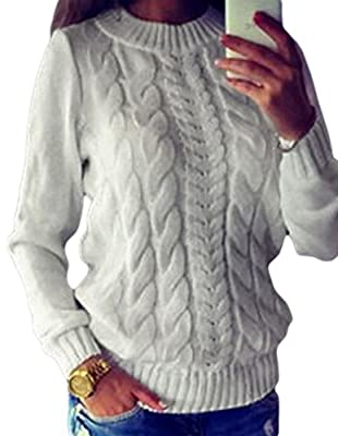 Locryz Women O Neck Cable Knit Long Sleeve Loose Sweater Jumper Pullover Tops