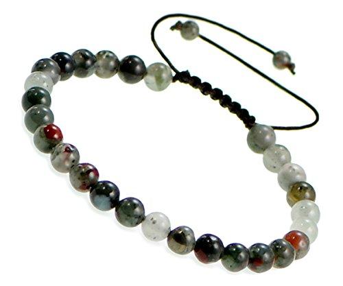 AD Beads Natural 6mm Gemstone Bracelets Healing Power Crystal Macrame Adjustable 7-9 Inch (30 Bloodstone)