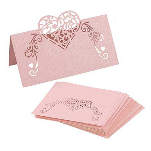 - YURASIKU 50pcs Laser Cut Heart Shape Table Name Card Pink Place Card for Wedding Bridal Shower Baby Shower Party Decoration