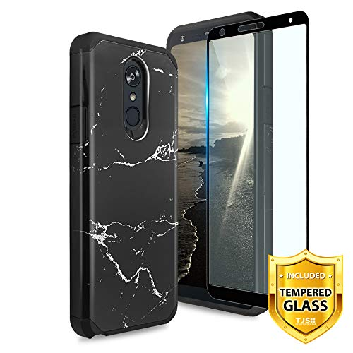 TJS LG Stylo 4 2018/LG Stylo 4 Plus/LG Q Stylus Case, [Full Coverage Tempered Glass Screen Protector] Dual Layer Hybrid Shockproof Protection Impact Rugged Marble Phone Case Armor Cover (Black)