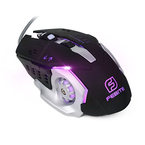 Wired Gaming Mouse, FeBite Ergonomic Optical Wired Computer Mouse Multi Color Ergonomic Wired Mouse 6 Buttons, 3200 Adjustable DPI 4 Levels for PC Laptop Notebook Macbook - Ibm Led Thinkpad