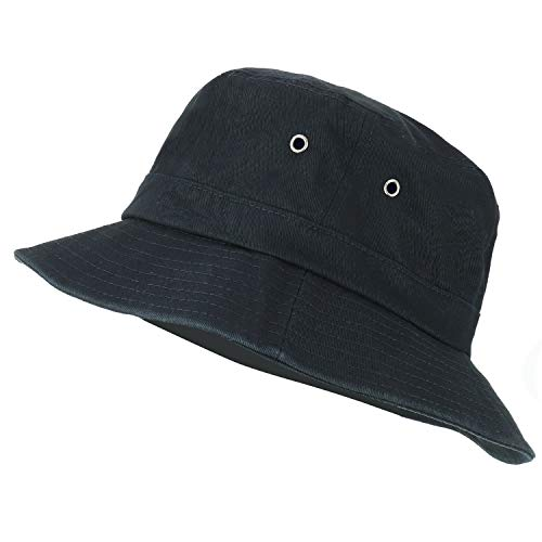 Trendy Apparel Shop Oversize XXL - XXXL Short Brim Outdoor Bucket Hat - Black - XL-2XL - Brim Bucket Large