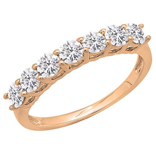 0.90 Carat (ctw) 14K Round Lab Grown White Diamond Ladies Anniversary Wedding Band, Rose Gold, Size 6