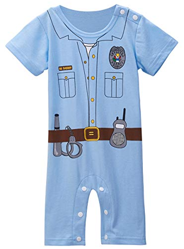 COSLAND Baby Boys' Police Uniform Costume Romper (Police, 12-18 Months)]()