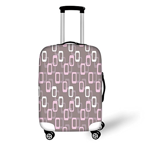 (Travel Luggage Cover Suitcase Protector,Geometric,Retro Square Shapes Pattern Oval Corners Soft Toned Vintage Inspired,Warm Taupe Pink White,for Travel)