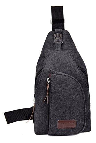 Pecho Pack para hombre Lienzo Sprots al aire libre pequeña bolsa de hombro mochila, gris negro