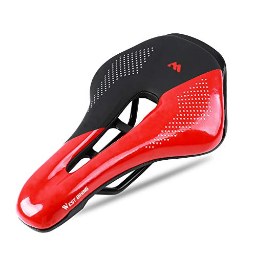 West Biking Ultralight Bike Saddle, Non-Slip Extra Comfort Water-Resistant Soft Bicycle Cushion with Breathable Design for Men Women Road BMX Cycling Seat