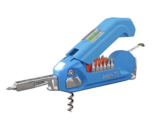Kelvin Tools K-36 Multi-Tool Set, 36 Integrated Tools, 26 Bit Screwdriver Set, Tape Measure, Corkscrew- Cyan