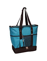 Everest Luggage Deluxe Shopping Tote, Turquoise/Black, One Size