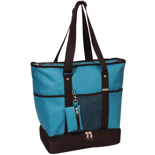 Everest Luggage Deluxe Shopping Tote, Turquoise/Black, Turquoise/Black, One Size