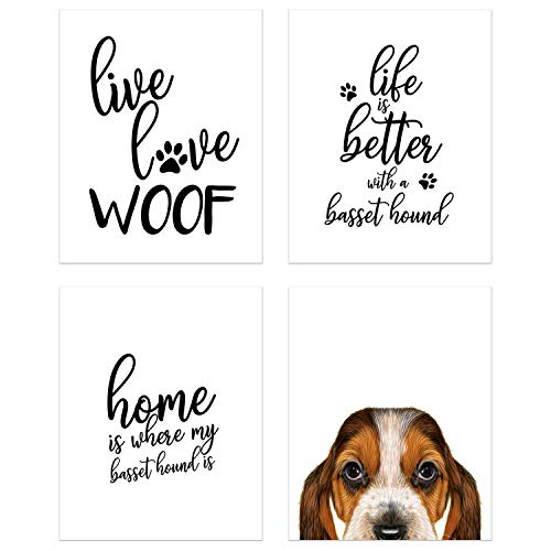 Summit Designs Basset Hound Wall Art Décor Prints – Set of 4 (8x10) Unframed Poster Photos – Dog Puppy Quotes