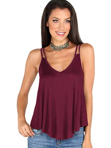 MAKEMECHIC Women's Flowy V Neck Strappy Tank Tops Loose Cami Top Maroon XS