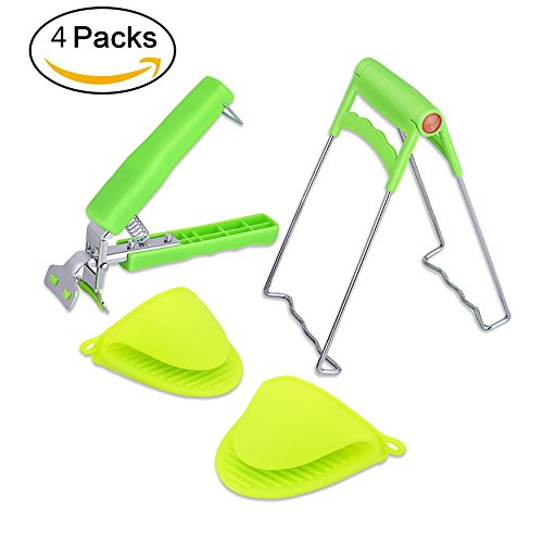 Crockery Pot (4 Packs Bowl Clip+ Plate Gripper + Heat Resistant Silicone Cooking Pinch Mitts Grips , Stainless Steel Folding Retriever Lifter Tongs for Hot Dishes,Plates, Bowl Pots Crockery Holder Clamp)