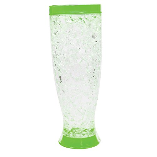 Mug Double Wall Gel Freezer Mug - 16 oz Insulated Pilsner Beer Mug with Freezing Gel (Green)