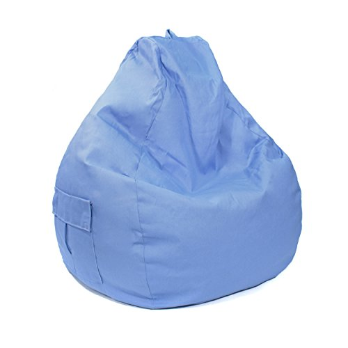 Gold Medal Bean Bags 31011284935TD Large Denim Tear Drop Bean Bag with Pocket, Blue Jean Blue Denim Bean Bag