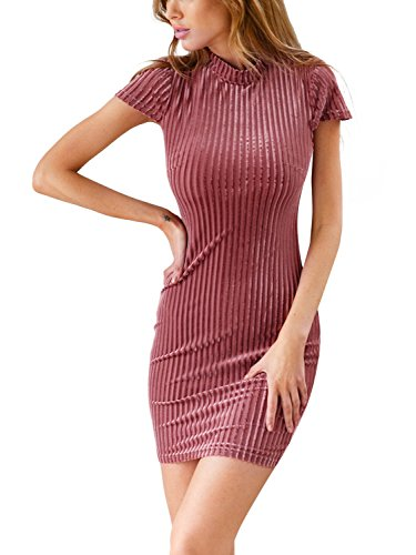 Lace Mini Simplee Up Dress Neck Dress Bodycon Corduroy Women's High Rose Apparel pwq0pzZ