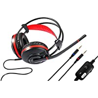 Spadger Wired Over-Ear Computer Gaming Headset with Microphone Controller(Red/Black)