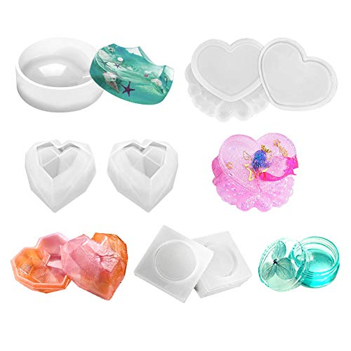 Silicone Resin Molds, 4 Pack Resin Molds for Jewelry Include Round Mold, Heart Trinket Box Mold with Lid, Mini Round Box Mold for Cement Clay Crafts, Jewelry/Beads/Little Accessories Storage - Pearl Heart Jewelry Box