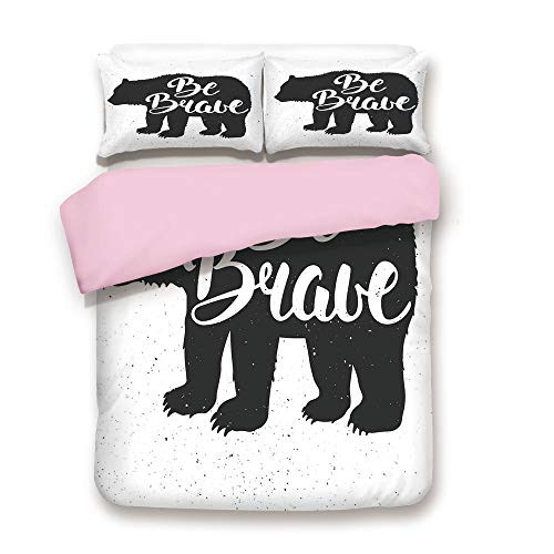 Pink Duvet Cover Set,Twin Size,Vintage Bear Be Brave Motivational Slogan Handwritten Lettering Courage,Decorative 3 Piece Bedding Set with 2 Pillow Sham,Best Gift For Girls Women,Black and White (Courage Twin)