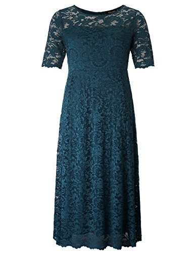 Chicwe Women's Stretch Lined Plus Size Scalloped Lace Maxi Dress Gown Teal Abyss 2X (Gown Stretch Lace Top)