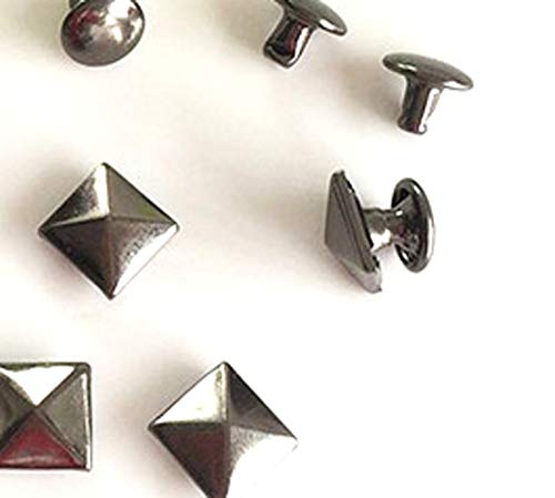 Leather Rivets Set 100 Sets 8mm Antique Brass Double Cap Round Rapid Rivet Punk Rock Leather Craft Rivet Pyramid Shape with Tools by X-CRAFT (Image #2)