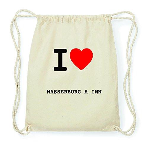 JOllify WASSERBURG A INN Hipster Turnbeutel Tasche Rucksack aus Baumwolle - Farbe: natur Design: I love- Ich liebe RsA1MQnI