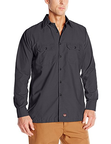 (Red Kap Men's Solid Rip Stop Shirt, Charcoal, Large )