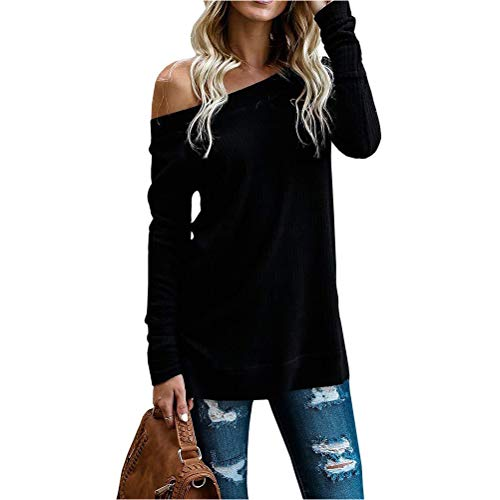 Womens Off Shoulder Long Sleeve Knit Pullover Oversized Jumper Sweaters Tops - Le Top Jumper