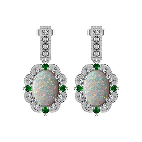 Silver Smile Solid Sterling Silver Tear Drop Earrings with Lab-Grown Opal, Chrome Diopside, Diamond in high polish Rhodium Plated Sterling Silver fine earrings