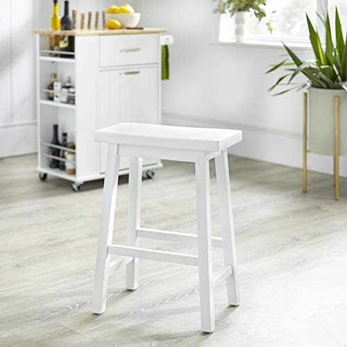 Target Marketing Systems 30-Inch Arizona Wooden Saddle Stool, White (Swivel Bar Target Stools)