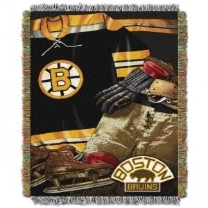 y Officially Licensed NHL Boston Bruins Vintage Woven Tapestry Throw Blanket, 48