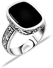 عتيق خاتم رجالي، فضة استرليني ، 925 فضة - اسود