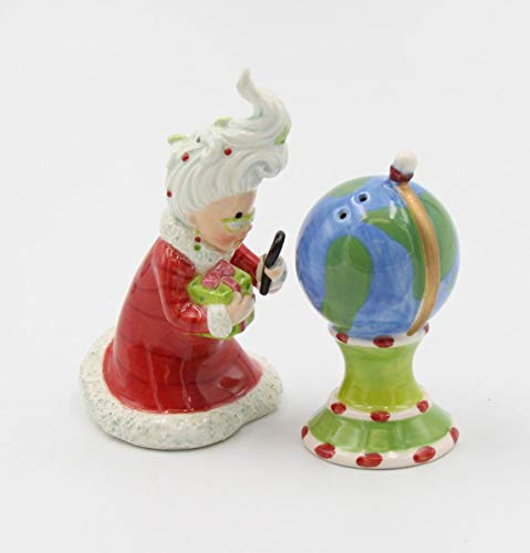 3.13 Inch Mrs. Claus Watching the North Pole Salt and Pepper Shakers