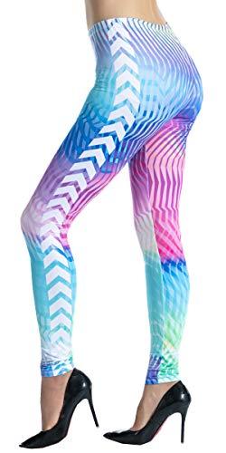 Ndoobiy Women's Printed Leggings Full-Length Regular Size Workout Legging Pants Soft Capri L1(Dazzy OS) ()
