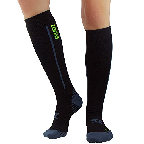 Zensah Featherweight Compression Socks - Ultra-Lightweight Compression Socks - Anti-blister, Graduated Compression (L, Black)