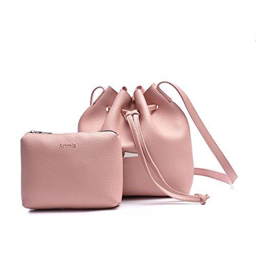 Pink Bucket Bag - Drawstring Bucket Bags 2 Pieces Set, Artmis Women Small Cross-body Purses PU Leather(pink)
