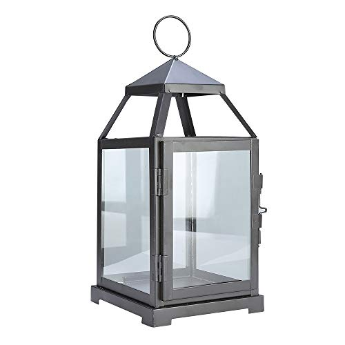 - JHY Design Decorative lanterns-12inch High Metal Candleholder Or Vintage Style Hanging Lantern for Indoor Outdoor, Events, Parities and Weddings(Dark Brown)