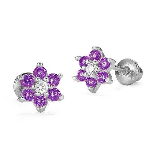 Sterling Silver Rhodium Plated Flower Purple Screwback Baby Girls Earrings