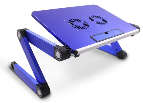 Lavolta Adjustable Vented Laptop Table Aluminium Notebook Desk Portable Stand Tray with CPU Fan Cooling Pad - Blue (Flat Cpu Cooler compare prices)