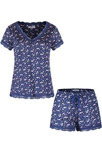 SofiePJ Women's Rayon Printed V Neck Short Sleepwear Pajama Set with Short Pants and Lace Trim Navy L