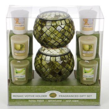 Aroma Lux Mosaic Holders with Candles - Honey Melon, Spiced Pear, Spun Sugar
