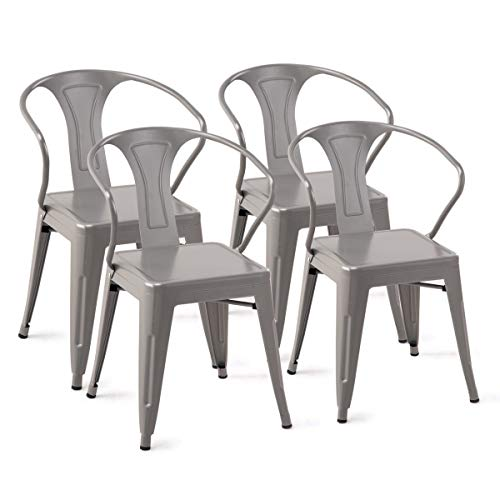 Simple 4PC Set Stackable Vintage Tolix Style Metal Dining Table Chairs Cafe Bistro Patio ()