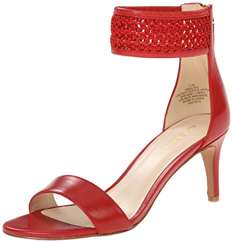 Nine West Womens Jilted Leather Dress Sandal RedRed 7 M US