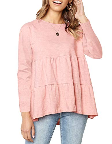 Woman In Labour Halloween Costume (Women's Long Sleeve Flounce Blouse Loose Solid Ruffle High Low Hem Tunic Top Casual Round Neck T Shirt (Long Sleeve Pink,)