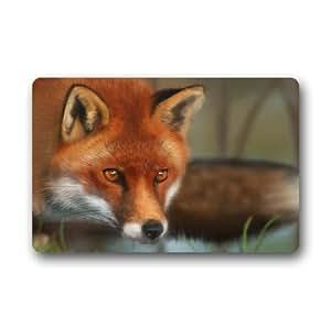 """Caliente venta especial diseño zorro rojo patrón Durable non-woven fabric top interior/exterior Doormats 23.6""""(L) X 15,7(W), 3/16"""" de grosor"""