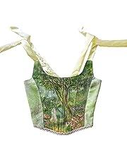 DeuYeng Vrouwen Tops Sexy Y2K Korset Bloemen Verf Bustier Mouwloze Crop Tank Top Slim Camisole 90 s Club Streetwear, A-groen, S